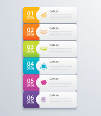 6 infographic tab index banner design vector and marketing template business. Can be used for workflow layout, diagram, annual report, web design. Business concept with steps processes.