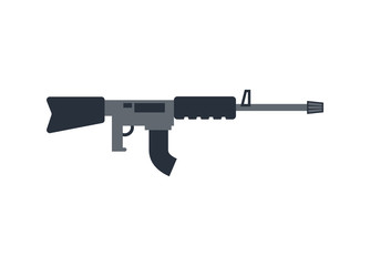 Machine gun isolated. Military rifle on white background. Weapons