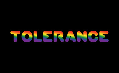 Tolerance LGBT sign of rainbow letters. Letitiging for gays and lesbians