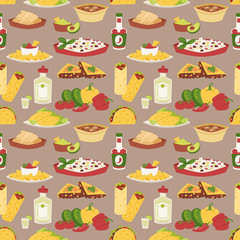 Mexican traditional dish with meat mexico food vector seamless pattern background