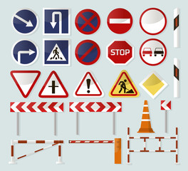 Road barriers and signs