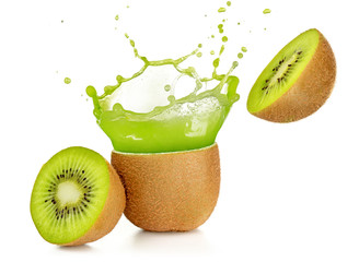 Wall Mural - juice exploding out of a kiwi fruit isolated on white