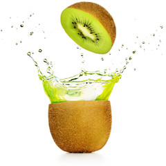 Wall Mural - green juice exploding out of a kiwi