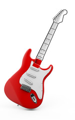 Red guitar 3d rendering on white background, piece of guitar painted