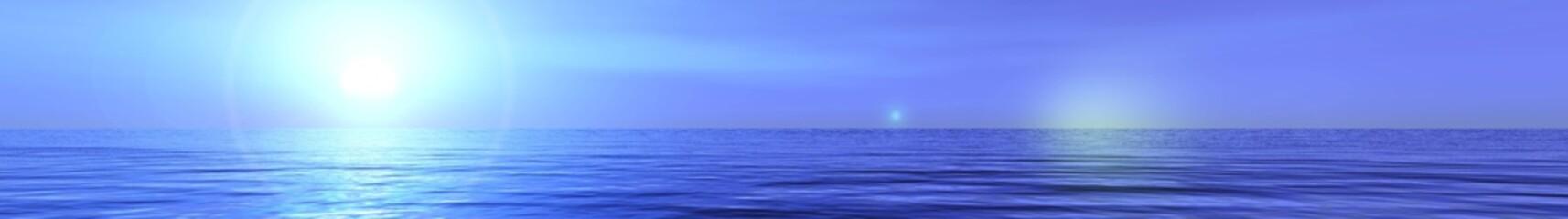 Panorama of the sea, sunset over the sea, oceanic sunrise