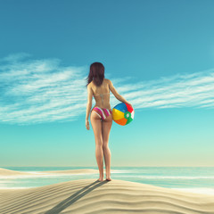 Girl with a beach ball