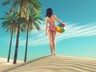 Girl with a beach ball