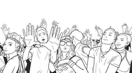 Stylized drawing of festival crowd partying