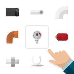Flat Icon Sanitary Set Of Tube, Conduit, Connector And Other Vector Objects. Also Includes Tank, Plastic, Iron Elements.