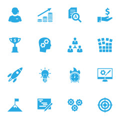 Set Of 16 Strategy Icons Set.Collection Of Time In Fire, Call Center, Startup Building And Other Elements.