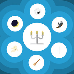 Flat Icon Festival Set Of Zombie, Broom, Spinner And Other Vector Objects. Also Includes Broomstick, Broom, Specter Elements.