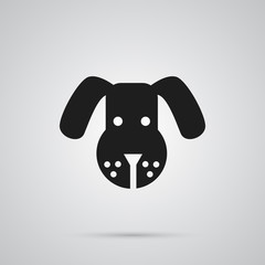 Isolated Dog Icon Symbol On Clean Background. Vector Head Element In Trendy Style.