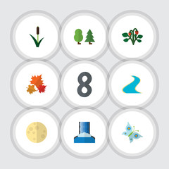 Flat Icon Nature Set Of Tributary, Cascade, Forest And Other Vector Objects. Also Includes Moon, Butterfly, Berry Elements.