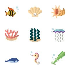 Flat Icon Sea Set Of Algae, Cachalot, Seashell And Other Vector Objects. Also Includes Alga, Scallop, Seaweed Elements.