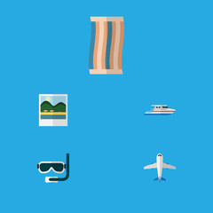 Flat Icon Season Set Of Aircraft, Scuba Diving, Boat And Other Vector Objects. Also Includes Boat, Plane, Foto Elements.