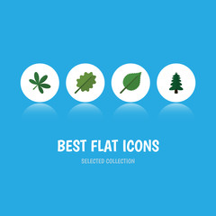 Flat Icon Natural Set Of Alder, Maple, Park And Other Vector Objects. Also Includes Leaf, Spruce, Tree Elements.