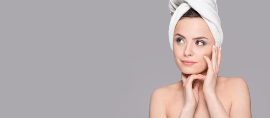 Perfect portrait of a young beautiful woman. Excellent skin. Beauty and spa concept.