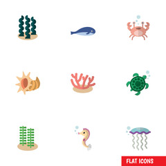 Flat Icon Nature Set Of Seaweed, Cancer, Algae And Other Vector Objects. Also Includes Turtle, Whale, Alga Elements.