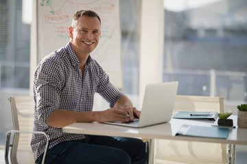 Portrait of confident executive using laptop at desk