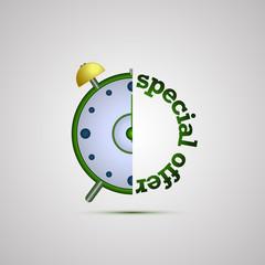 Векторная иллюстрация иконка простой символ плоский для веб alarm clock часы будильник специальное предложение