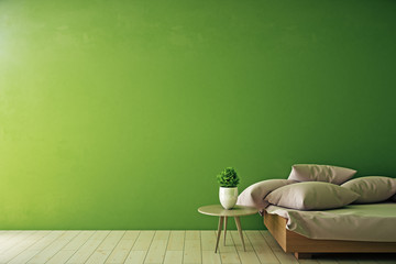 Wall Mural - Interior with empty green wall
