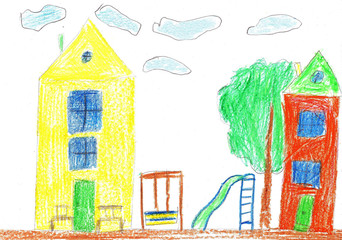 Child's drawing. House, trees and bench