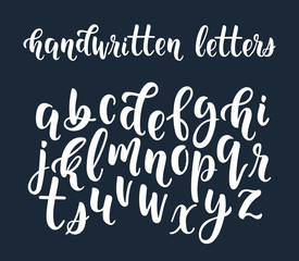 White handwritten latin calligraphy brush script of lowercase letters. Calligraphic alphabet. Vector