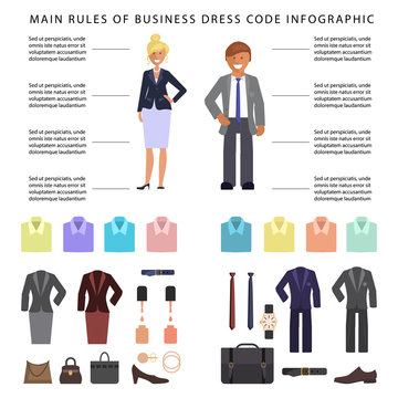 Business dress code infographics. People in formal clothes and shoes. Official suits for Man and woman isolated on white background. Vector illustration eps 10
