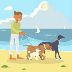 Young man professional Dog Walker Exercising Dogs on the sea beach. Flat Cartoon Character of pet and his owner. Colorful Vector Illustration eps 10