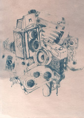 Engraved camera image with natural ink drawing of photo technics.