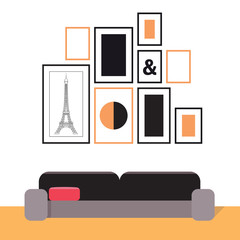 Picture frames on the wall and a sofa. Interior illustration