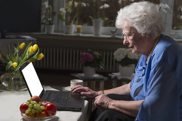 Fototapeta Seniorin sitzt im Wohnzimmer und schreibt Nachrichten am Laptop Textfreiraum obraz
