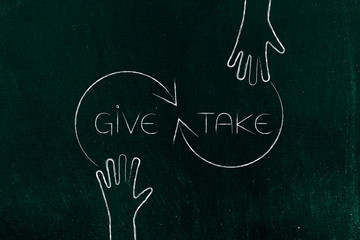 give and take hands with arrows and text