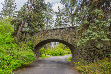 Stone bridge in the park. Manito Park and Botanical Gardens, Spokane, Washington, United States