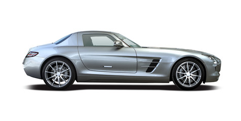 Premium sport car side view isolated on white