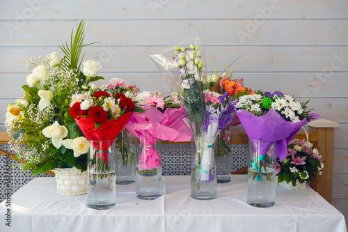 Table With Decorative Flowers At The Window Flowers In Vases Gift