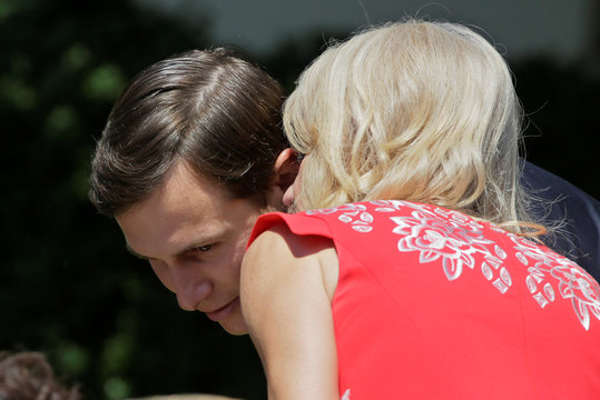 White House counselor Conway whispers to Senior Advisor Kushner before U.S. President Trump and South Korean President Moon deliver statements at White House in Washington