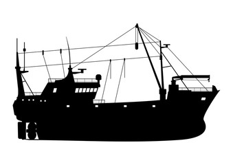 Silhouette of a fishing trawler. Side view. Flat vector.
