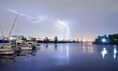 Thea Foss Waterway Tacoma Washington Lightning Strike Thunderstorm