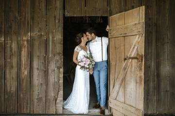 Bride and Groom Barn Wedding