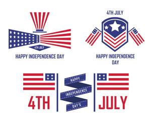 Modern Patriotic 4th Of July USA Independence Day Emblem Logo Set