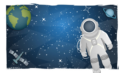 Vector illustration of an astronaut in space on a background of planets with space for text