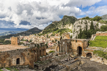 View of old amphitheater in Taormina, Italy