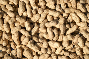 Peanuts in shell texture background. Raw peanuts top view at a farmer's market.
