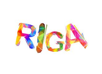 Riga city name. Trianguler letters