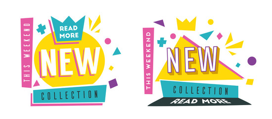 New collection banners. Bright and retro style. Cartoon vector illustration.
