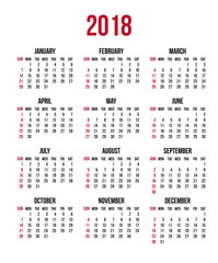Calendar 2018 year. Week starts Sunday, US. Vector clear or blank calendar template for office and print