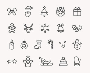 Modern Christmas Icon Set
