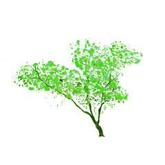Green tree silhouette, handdrawn watercolor splashes, isolated on white background. Raster illustration
