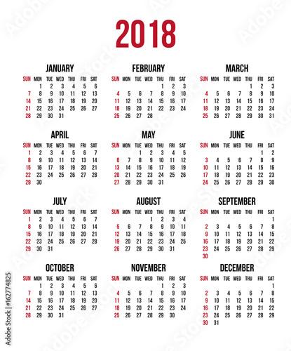 Calendar 2018 Year Week Starts Sunday Us Vector Clear Or Blank